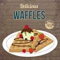 Vintage waffles with chocolate, ice cream and berries poster - PhotoDune Item for Sale