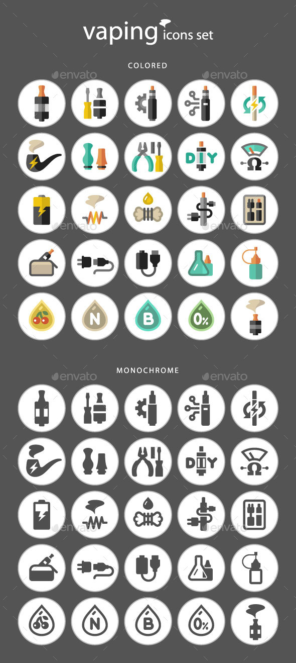 GraphicRiver Vaping Icon Set 10255344