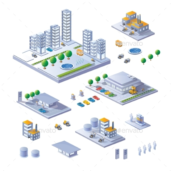 GraphicRiver Set of Isometric Buildings 10255368