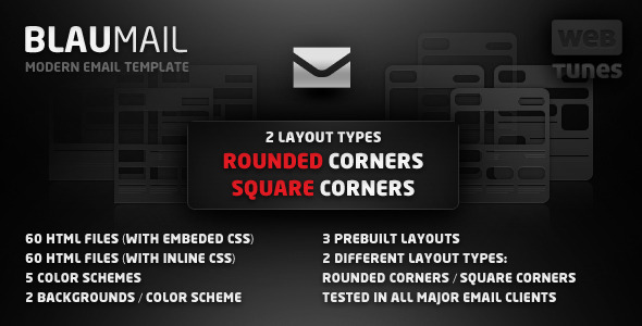 ThemeForest BlauMail Email Template 5 colors 3 layouts 117546