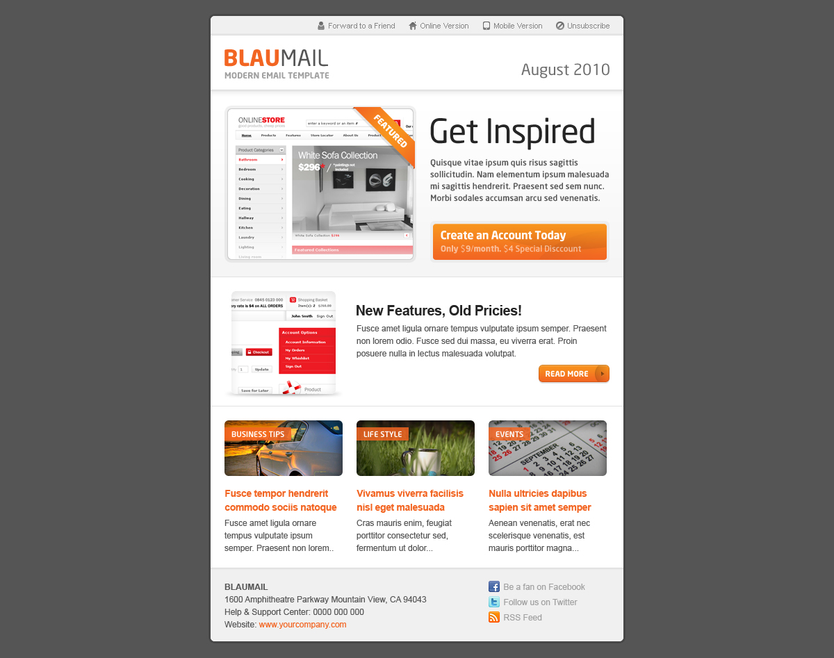 BlauMail - Email Template, 5 colors, 3 layouts