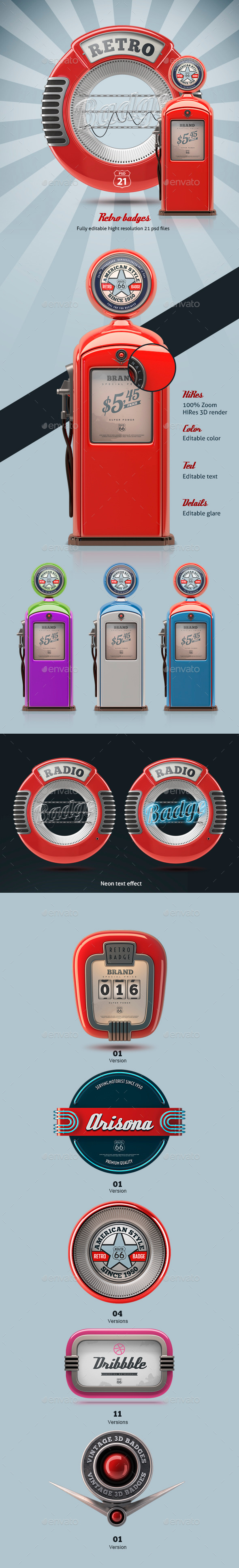 GraphicRiver 3D Retro Badges 10255569