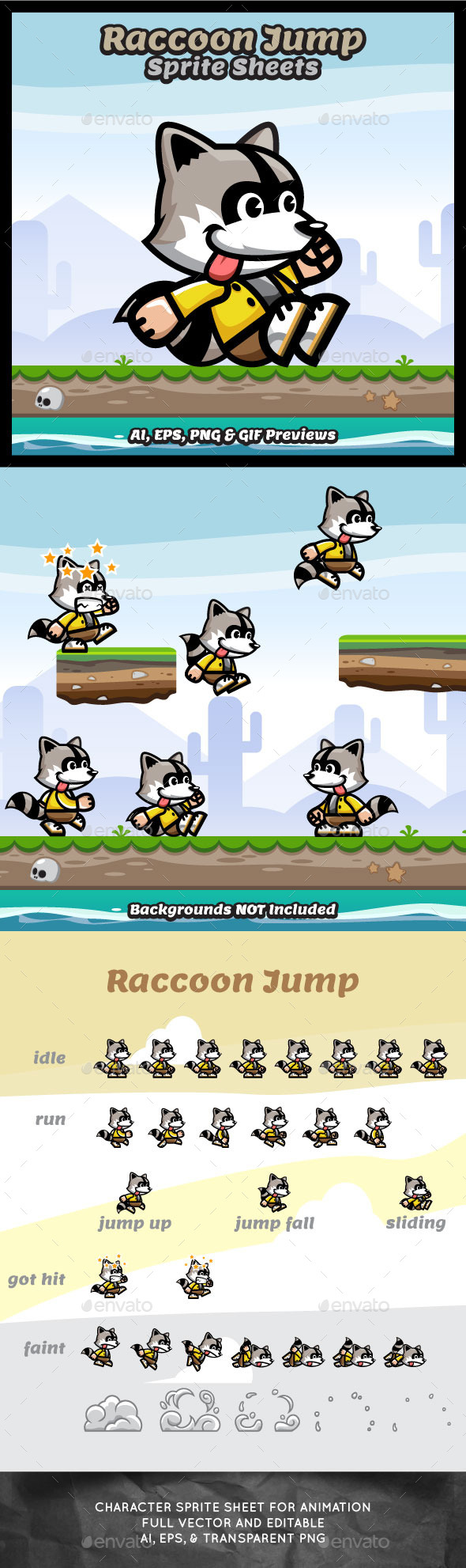 GraphicRiver Raccoon Jump Sprite Sheets Game Character 10256187
