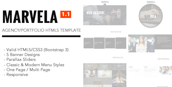 MARVELA - Agency/Portfolio Multi-Purpose HTML5 Template - Corporate Site Templates