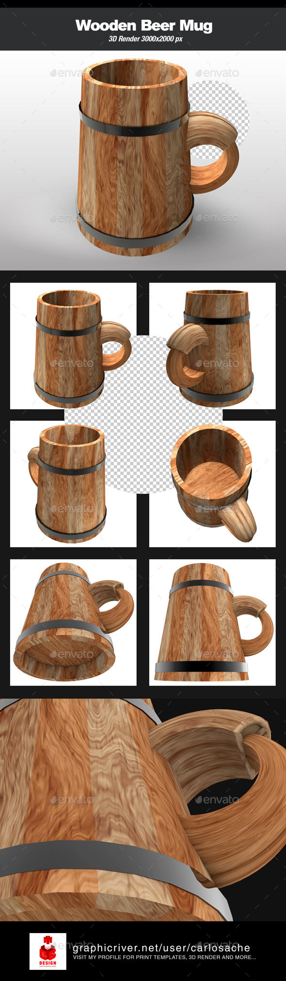GraphicRiver Wooden Beer Mug 10257337