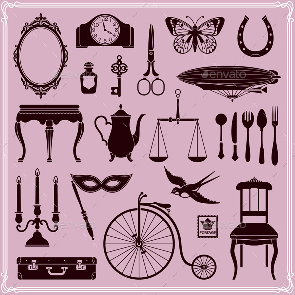 GraphicRiver Vintage Ephemera Icons and Objects of Old Era 10257405