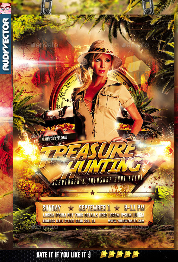 GraphicRiver Treasure Hunt Scavenger Hunt Games Flyer 10257470