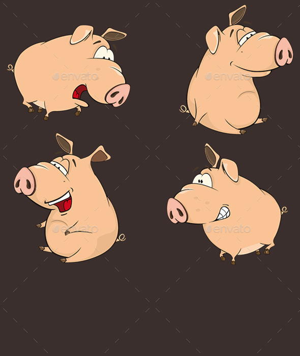 GraphicRiver Set of Cartoon Pigs 10257493