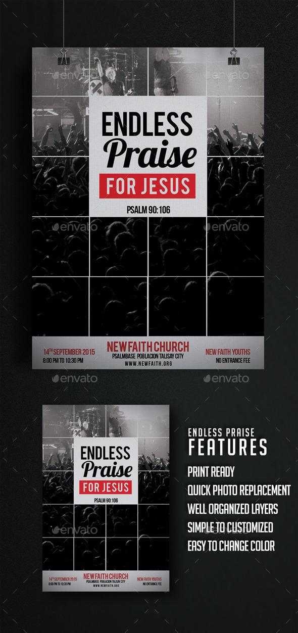 GraphicRiver Endless Praise Church Flyer 10257591