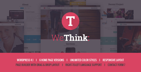 ThemeForest We Think Single&Multi Page WordPress Theme 10180345