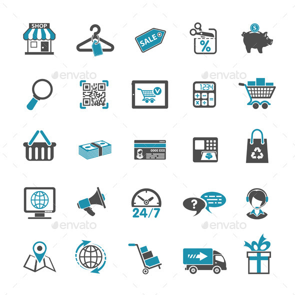 GraphicRiver Shopping Icon Set 10258613