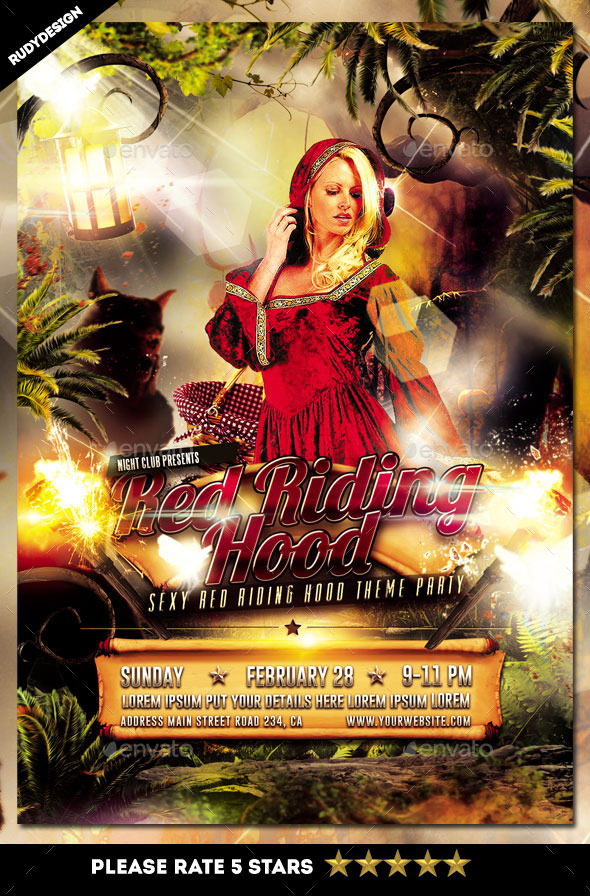 Sexy Red Riding Hood Party Flyer Template