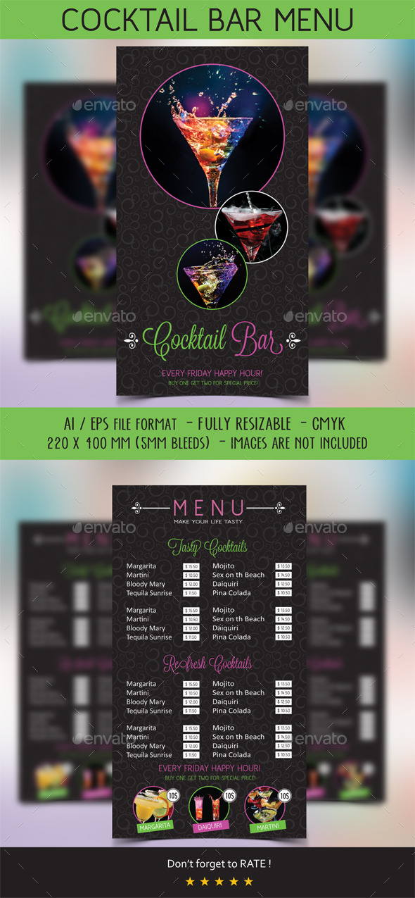 GraphicRiver Cocktail Menu 10258813