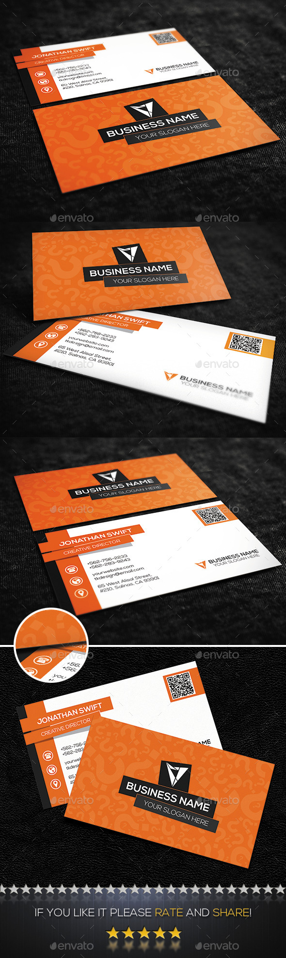 Orange Creative Corporate Business Card