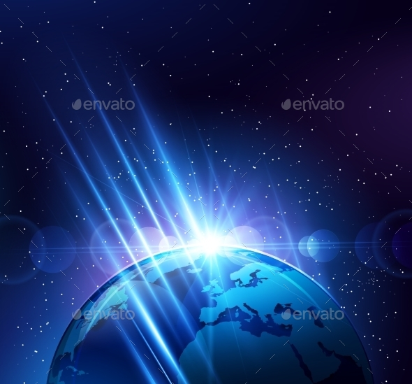 GraphicRiver Planet Earth in Bright Rays of Light 10258936