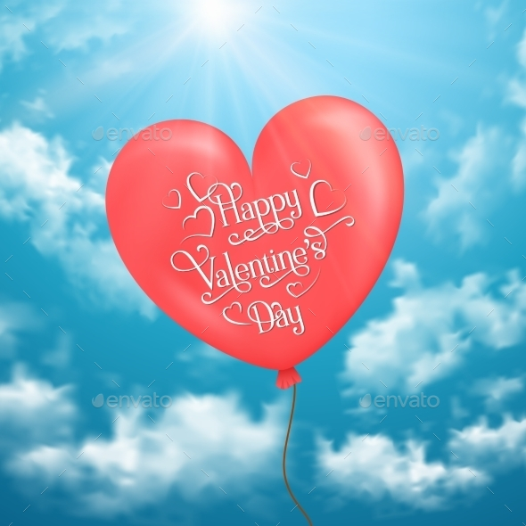 Valentine s Card with Heart-Shaped Balloon