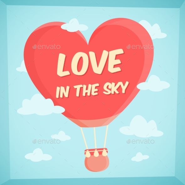 GraphicRiver Valentines Poster with Hot Air Balloon in Sky 10259099