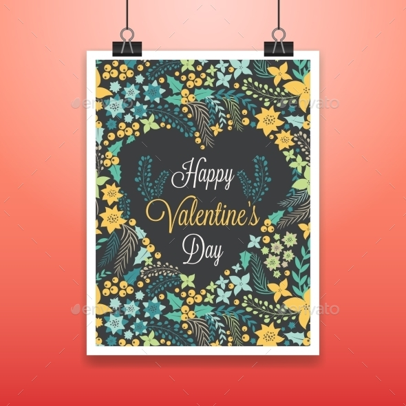 GraphicRiver Valentine s Poster with Flowers 10259225