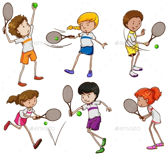 GraphicRiver Kids Playing Tennis 10259253