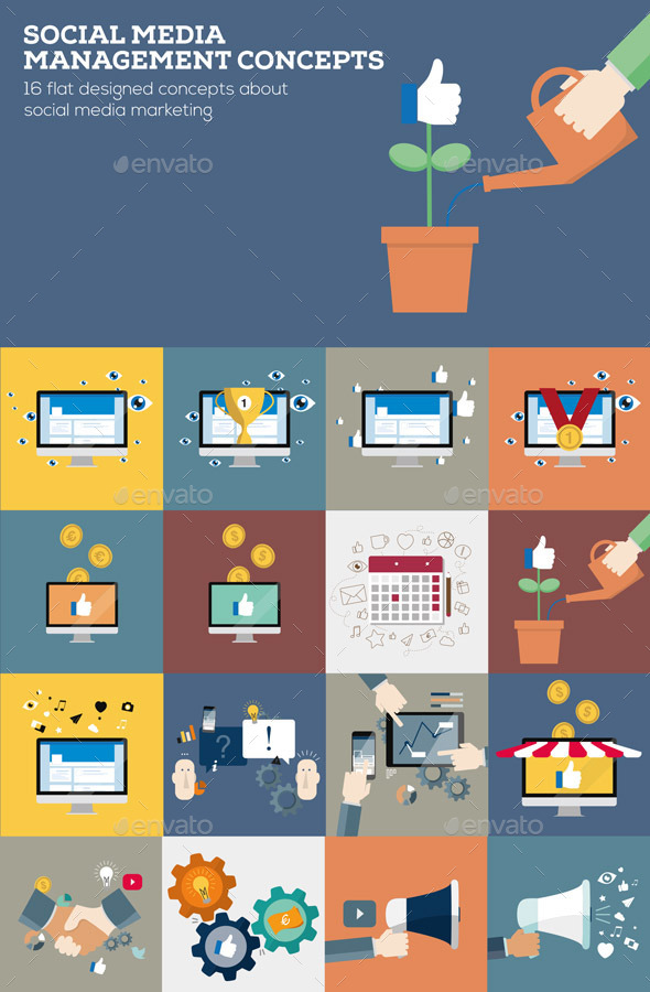 GraphicRiver Social Media Management Concepts in Flat Design 10259910