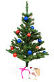 Christmas tree decorated red and blue balls on white background. - PhotoDune Item for Sale