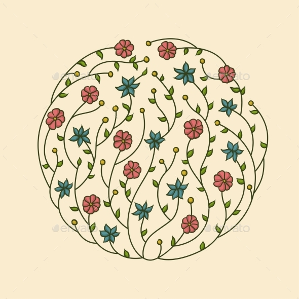 Illustration of Flowers Vignette