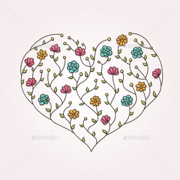 GraphicRiver Illustration of Floral Heart 10260772