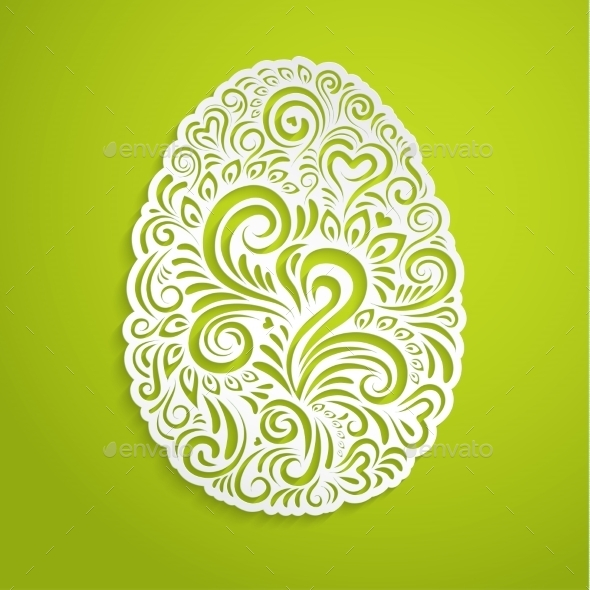Paper Easter Egg on Green