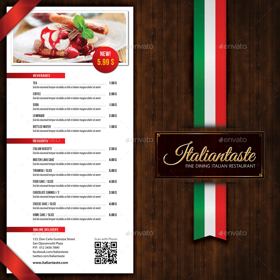 Italian restaurant menu brochure by rapidgraf graphicriver