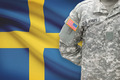 American soldier with flag on background - Sweden - PhotoDune Item for Sale