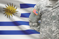 American soldier with flag on background - Uruguay - PhotoDune Item for Sale