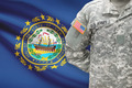 American soldier with US state flag on background - New Hampshire - PhotoDune Item for Sale