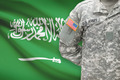 American soldier with flag on background - Saudi Arabia - PhotoDune Item for Sale