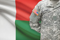 American soldier with flag on background - Madagascar - PhotoDune Item for Sale