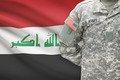 American soldier with flag on background - Iraq - PhotoDune Item for Sale