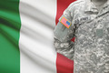 American soldier with flag on background - Italy - PhotoDune Item for Sale