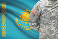 American soldier with flag on background - Kazakhstan - PhotoDune Item for Sale
