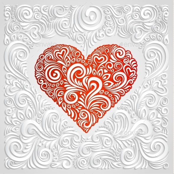 GraphicRiver White Floral Paper Heart 10264486
