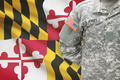American soldier with US state flag on background - Maryland - PhotoDune Item for Sale