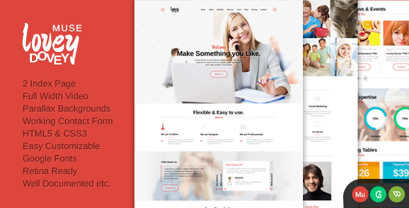 Lovey Dovey One Page Parallax Muse Template