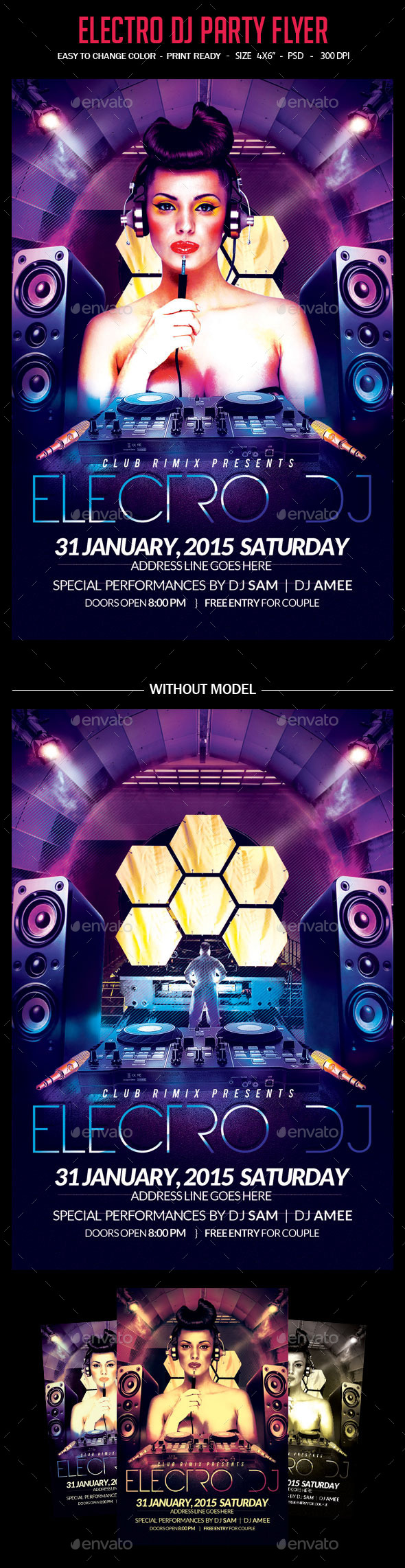 GraphicRiver Electro Dj Party Flyer 10265510
