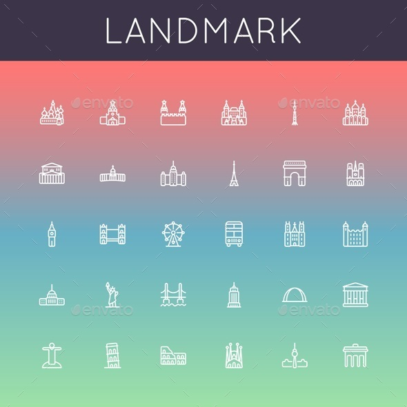 GraphicRiver Landmark Line Icons 10265591