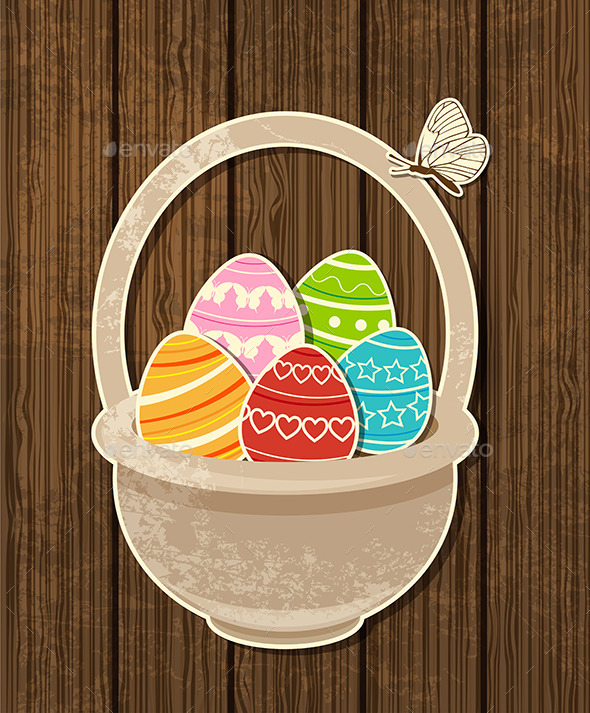 GraphicRiver Easter Background with Eggs in Basket 10265701