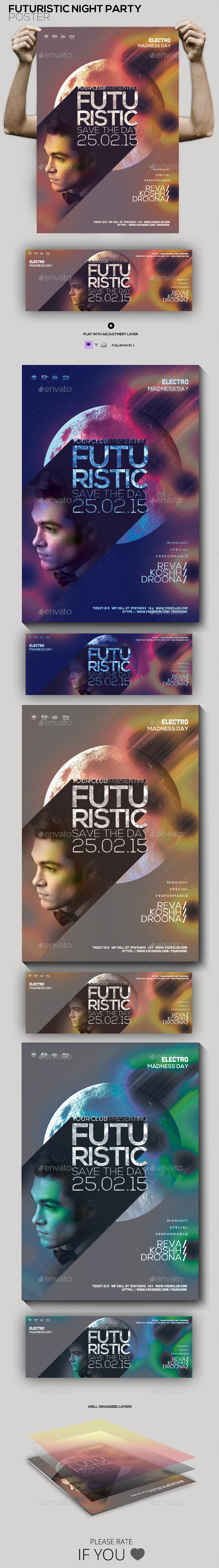 GraphicRiver Futuristic Guest Dj Party Flyer Poster 10265931