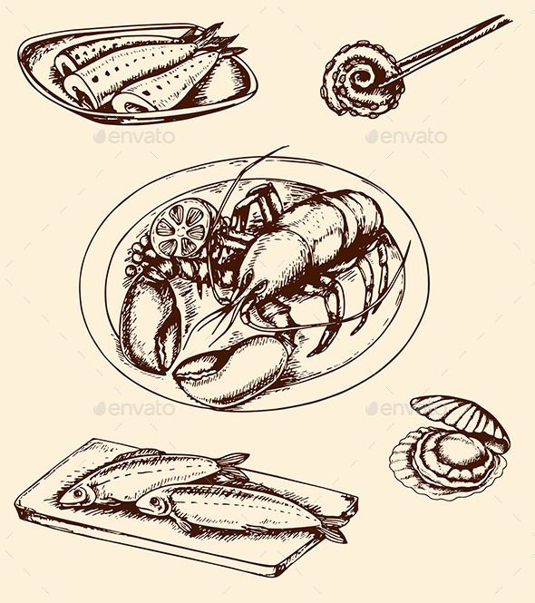 GraphicRiver Vintage Hand Drawn Seafood 10265943