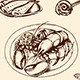 Vintage Hand Drawn Seafood - GraphicRiver Item for Sale