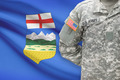American soldier with Canadian province flag on background - Alberta - PhotoDune Item for Sale