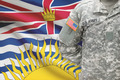 American soldier with Canadian province flag on background - British Columbia - PhotoDune Item for Sale