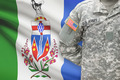 American soldier with Canadian province flag on background - Yukon - PhotoDune Item for Sale