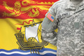 American soldier with Canadian province flag on background - New Brunswick - PhotoDune Item for Sale